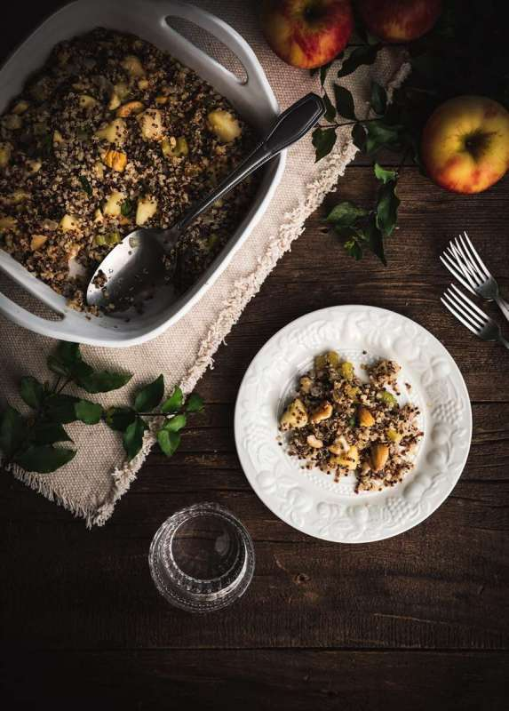 Quinoa Stuffing with Apples, Chestnut, and Sage