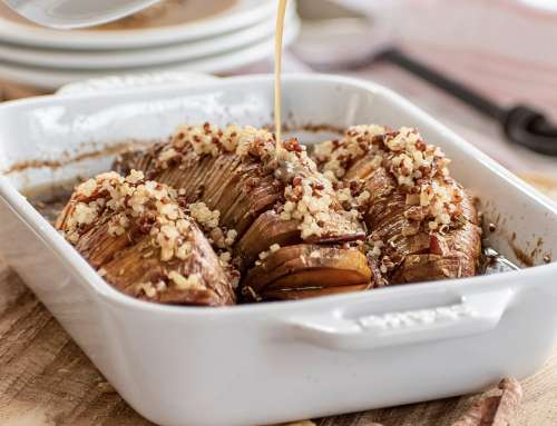 Hasselback Sweet Potatoes with Brown Sugar Quinoa