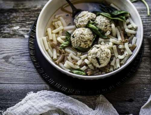 Vegan and Gluten-Free Macaroni and Meatball Soup