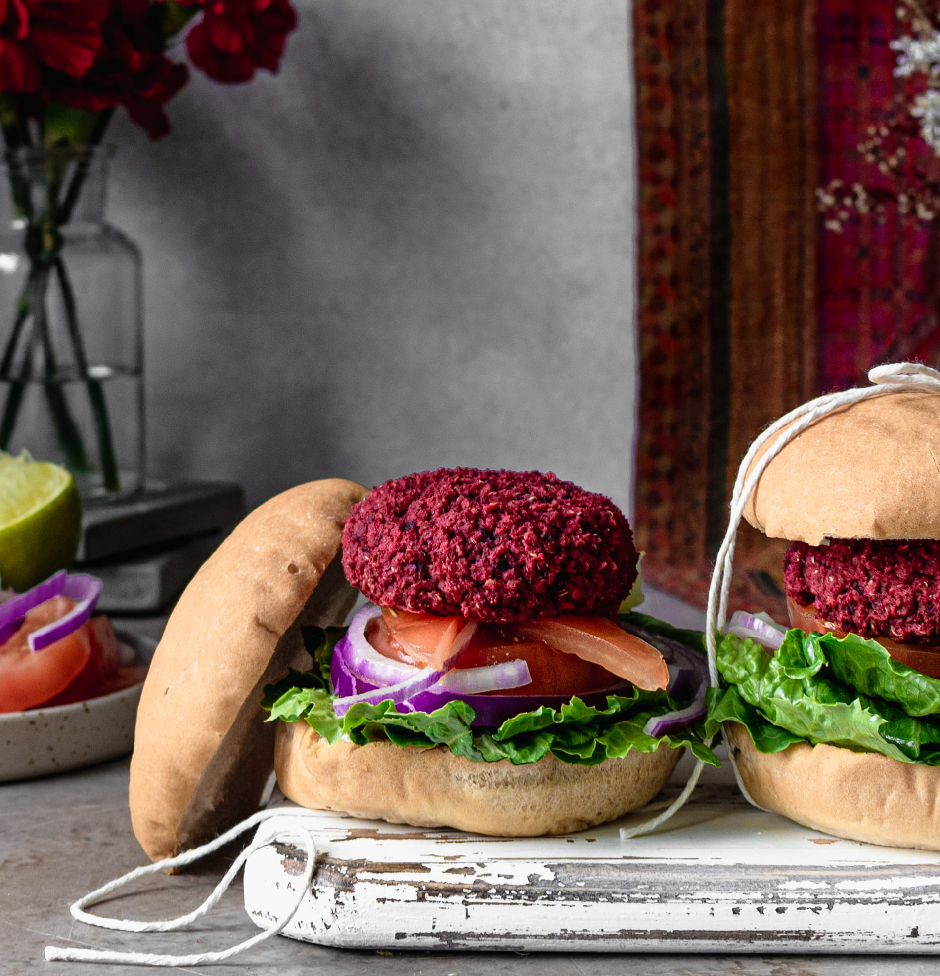 Open Face Baked Beetroot Chickpea Sliders