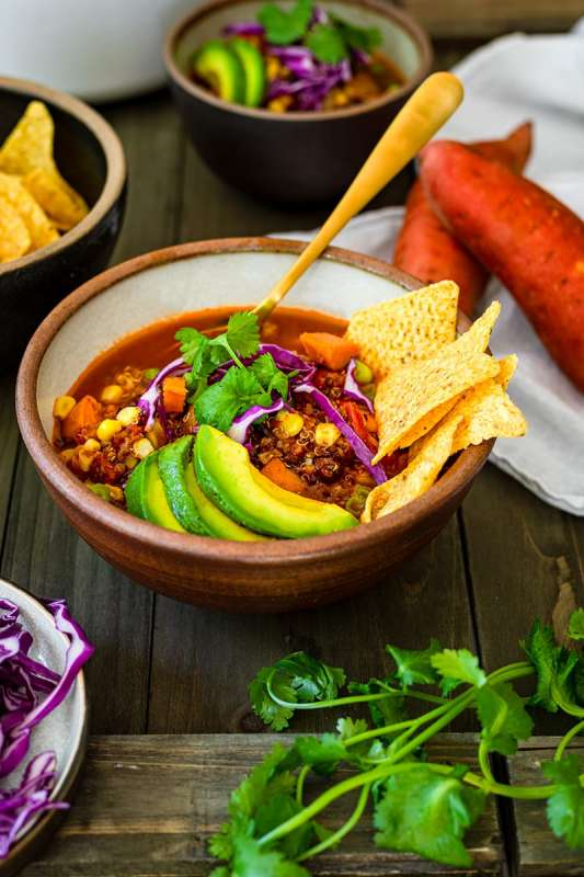 Tricolor Quinoa Chili with Sweet Potatoes and Black Beans